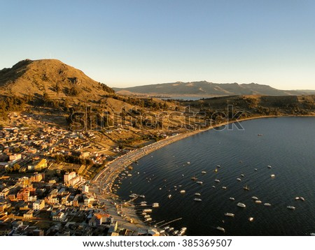 Bolivia - Isla del Sol on the Titicaca lake, the largest highaltitude lake in the world (3808m). This island's legendary Inca creation site and the birthplace of the sun.Landscape of the Titicaca lake - stock photo