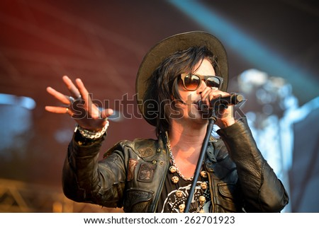 BOLKOW, POLAND - JULY 19, 2014: Jyrki during concert band The 69 Eyes at the Castle Party dark independent festival. Castle  Party is annual festival with the gothic, rock and electro music. - stock photo