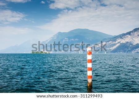 Bollard at Lake Garda (Italy) - stock photo
