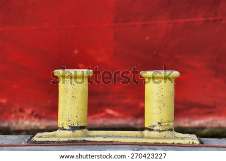 Bollards in the harbor of Hamburg, Germany - stock photo