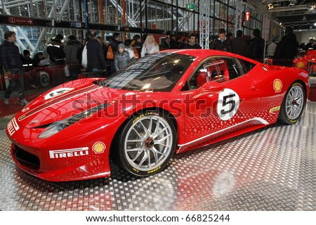BOLOGNA ITALY-DEC 4: Bologna Motor Show Ferrari racer. on December 04, 2010 in Bologna Italy - stock photo