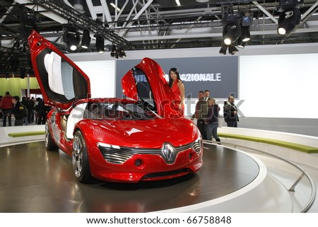 BOLOGNA ITALY-DEC 4: Bologna Motor Show renault stand on December 04, 2010 in Bologna Italy - stock photo