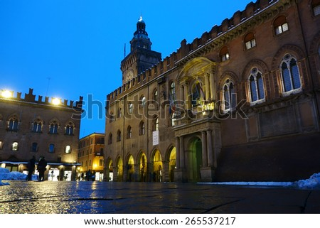 BOLOGNA, ITALY - FEBRUARY 6, 2015: Accursio Palace at night, the town hall of Bologna in winter time - stock photo