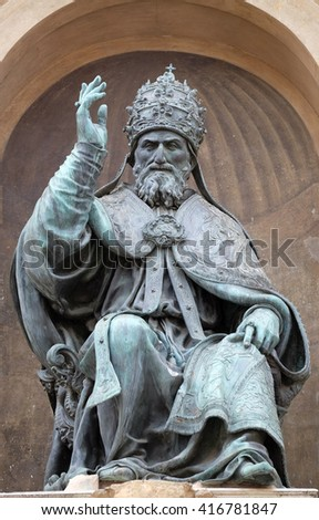 BOLOGNA, ITALY - JUNE 04: Bologna landmark Pope Gregory XIII statue in Bologna, Italy, on June 04, 2015 - stock photo