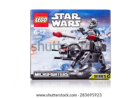 BOLOGNA, ITALY - JUNE 2, 2015: Studio shot of a Star Wars Lego AT-AT box from movie series. Lego is a popular line of construction toys popular with kids and collectors worldwide. - stock photo