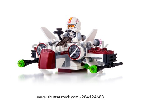 BOLOGNA, ITALY - JUNE 2, 2015: Studio shot of a Star Wars Lego Starfighter from movie series. Lego is a popular line of construction toys popular with kids and collectors worldwide. - stock photo