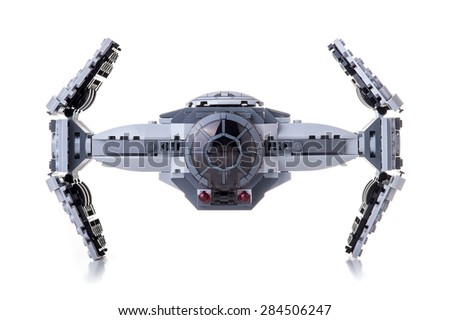 BOLOGNA, ITALY - JUNE 2, 2015: Studio shot of a Star Wars Lego TIE Advanced Prototype from movie series. Lego is a popular line of construction toys popular with kids and collectors worldwide. - stock photo