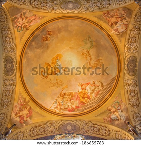 BOLOGNA, ITALY - MARCH 15, 2014: Fresco in side cupola of Dom - Saint Peters baroque church by U. Bigari (1692 - 1776). Pope Celestine, st. Peter and st. Petronio - bishop of Bologna.  - stock photo