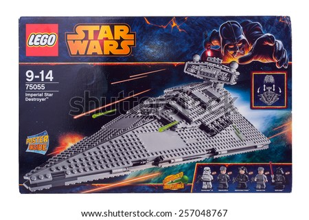 BOLOGNA, ITALY - MARCH 1, 2015: Studio shot of a Star Wars Lego box from movie series. Lego is a popular line of construction toys popular with kids and collectors worldwide. - stock photo