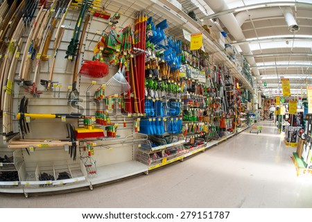 BOLOGNA, ITALY - May 18, 2015. Interior of the Leroy Merlin Store. Leroy Merlin is a French home-improvement and gardening retailer serving thirteen countries. - stock photo