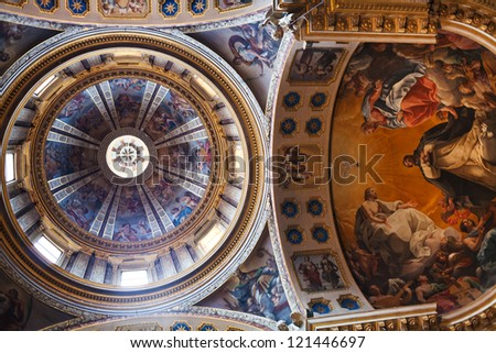 BOLOGNA, ITALY - OCTOBER, 31: ceiling of Basilica San Domenico. Two pictures are made by Giuseppe Pedretti (1696-1778), others by Vittorio Bigari (1692-1776) in Bologna, Italy on October 31, 2012 - stock photo
