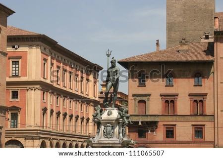 Bologna, Italy, the Neptun fountain in Piazza Maggiore - stock photo