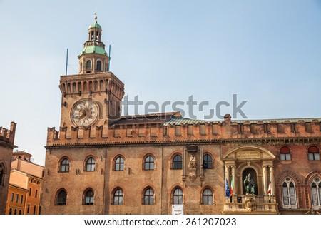 Bologna - Palazzo Comunale and Piazza Maggiore square - stock photo