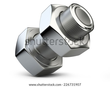 bolt and nut isolated on white background. 3d illustration - stock photo