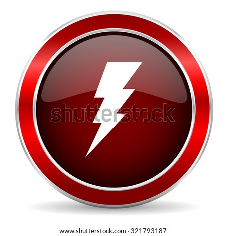 bolt red circle glossy web icon, round button with metallic border - stock photo