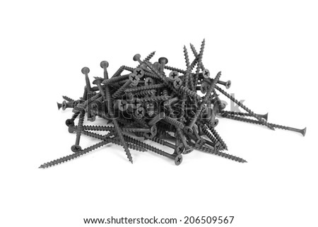 bolt, screw isolated on the white backgrounds - stock photo