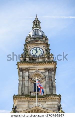 Bolton Town Hall with union jack flying - stock photo