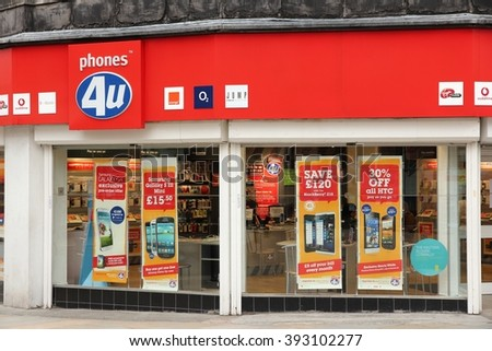 BOLTON, UK - APRIL 23, 2013: Phones 4u mobile phone store in Bolton, UK. United Kingdom had 83 million mobile phones in use in 2014. - stock photo
