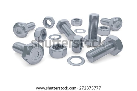 Bolts and nuts isolated on white with clipping path - stock photo