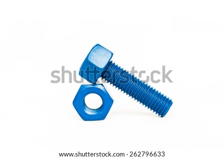 bolts and nuts with blue coated on white background - stock photo