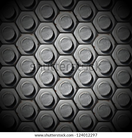 Bolts Heads Background / Metallic grunge background with bolts heads - stock photo