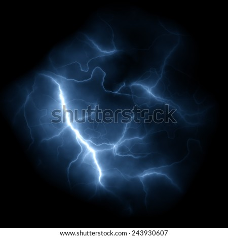 Bolts of lightning isolated over a dark black background. - stock photo