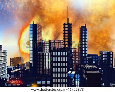 Bomb blast in New York - stock photo