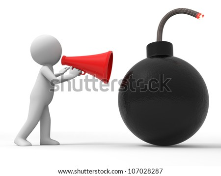 Bomb/Crisis/a people is using a megaphone - stock photo