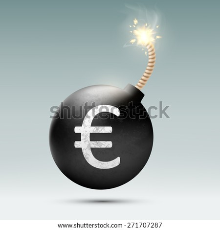Bomb with euro and burning wick - stock photo
