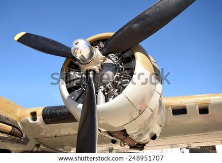 bomber closeup view of propeller - stock photo