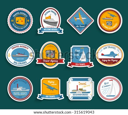 Bon voyage travel agency flying dream air and sea cruises stickers collection color abstract isolated  illustration - stock photo