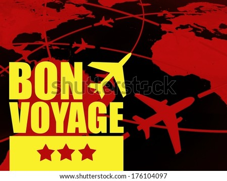 Bon voyage travel concept, airlines on world map - stock photo