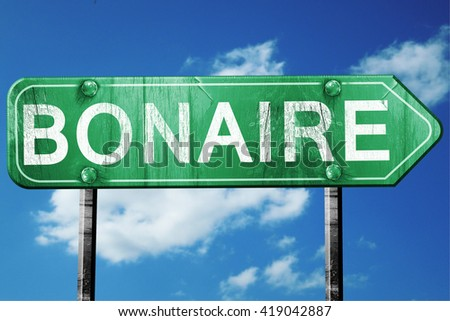 Bonaire, 3D rendering, a vintage green direction sign - stock photo