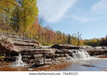 bonanza falls near porcupine wilderness state park Michigan - stock photo