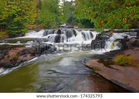 Bond Falls Waterfall in Michigan - stock photo