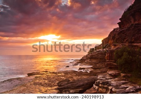 Bondi Beach  sunrise over ocean  - stock photo