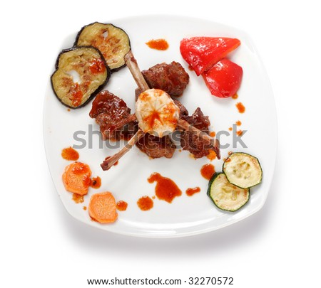Bone lamb platted top view. Tepan yaki dish - stock photo