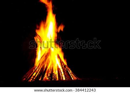 Bonfire. Celebrat of folk holiday Kupala Night (celebration relates to the summer solstice) in Ukraine. - stock photo