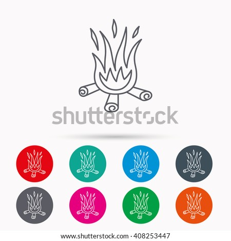 Bonfire icon. Fire sign. Linear icons in circles on white background. - stock photo