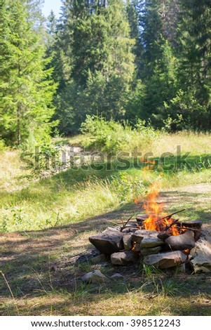 Bonfire in the meadow. - stock photo