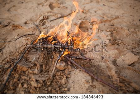 bonfire on sand - stock photo