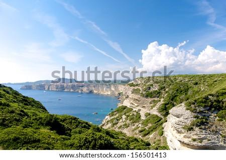 Bonifacio, Corsica, France panoramic view - stock photo