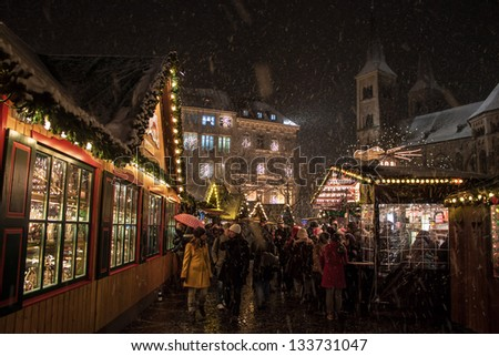 BONN, GERMANY - DECEMBER 7: Christmas market on December 7, 2012 in Bonn, Germany. There are 170 stalls at this market. - stock photo