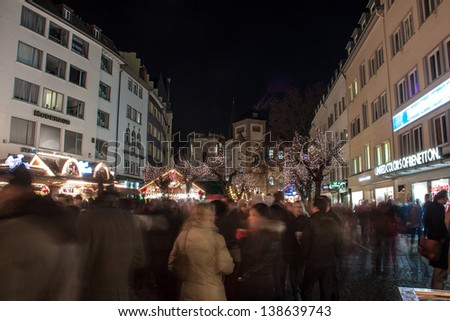 BONN, GERMANY - DECEMBER 11: Christmas market on December 11, 2012 in Bonn, Germany. There are 170 stalls at this market. - stock photo