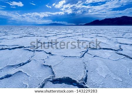 Bonneville Salt Flats at sunset, Tooele, Utah, USA - stock photo