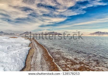 Bonneville Salt Flats Flooded by Winter Rains in Utah, United States. - stock photo