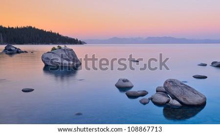 Bonsai rock at Lake Tahoe - stock photo