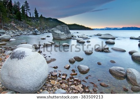 Bonsai Rock at Lake Tahoe, USA - stock photo