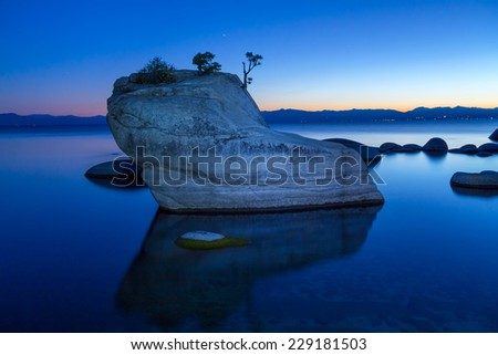 Bonsai Rock, Lake Tahoe - stock photo