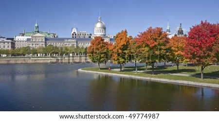 Bonsecours Basin during the autumn, Montreal - stock photo